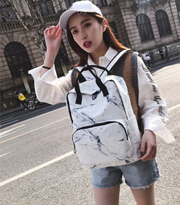 Wholesale DHL Marble printed high capacity backpack neutral school backpack notebook electronic head fashion bag leisure canvas travel bag