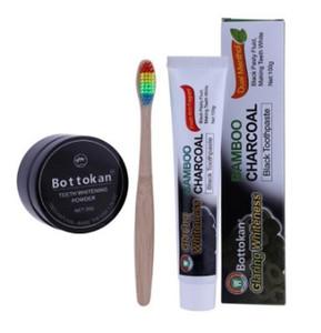 30g natural teeth Whitening blackBamboo Charcoal powder toothbrush 100g toothpaste set Remove Smoke Tea Coffee Yellow Stains