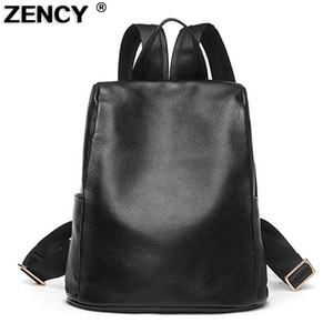 Wholesale ZENCY Fashion Soft Natural Genuine Leather Shoulder Backpack Women Ladies Girls First Layer Cowhide School ipad Bags
