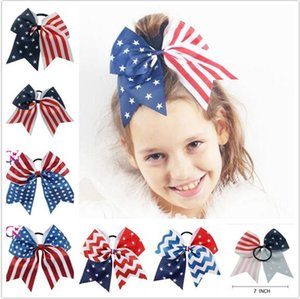 Wholesale 50pcs th of July Cheer Bow Patriotic Glitter Elastic Hair Ties Cheerleader Bow With Ponytail Holder For Girl Cheerleader Y136