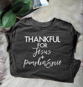 Wholesale Summer Stylish Quality Cotton Tee Thankful For Jesus and Pumpkin Spice T Shirt Christian Harajuku Tops Slogan Trendy Outfits