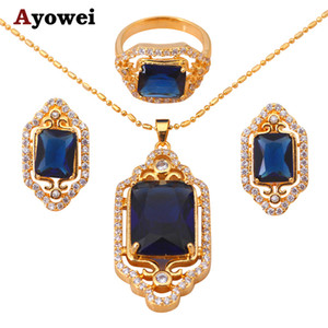 Wholesale Royal Brand gold tone Blue Zircon Crystal Jewelry Sets Earrings Necklace Ring sz Fashion Jewelry JS225A