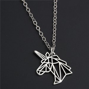 Wholesale 1pc Silver Unicorn Head Necklace Origami Necklace Birthday Gift Jewelry Women E201