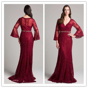 платья невесты матери оптовых-2018 Elegant Red Lace Mermaid Mother s Dresses Custom Sleeves Beads Mother of the Bride Dress с поясом V Neck Prom Gowns