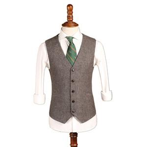 2019 Latest Farm Gray Wool Herringbone Tweed Wedding Groom Vests Custom Made Groomsmen Vest Slim Fit Mens Suit Vest Prom Waistcoat Dress In