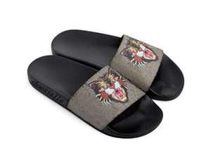 fashion BEIGEMULTI angry cat print slide sandals mens womens beach causal flat rubber flip flops with box and dust bags