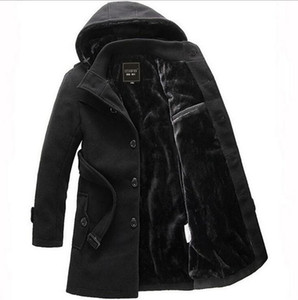 2017 Men Thick Warm Winter Trench Coat Long Section Fleece Jacket Overcoat XXXL Turn Down Collar Single Breasted Solid Overcoat