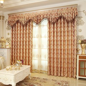 Wholesale Romantic Royal Luxury Window Curtains Bedroom Living Room Removable Elegant Drapes Curtain Encryption Golden Silk Jacquard Weave lg jj