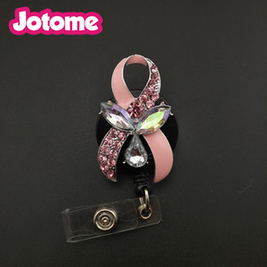 Wholesale 5pcs Breast Cancer Ribbon Nurse Retractable Badge Reel ID Holder Clip School Office