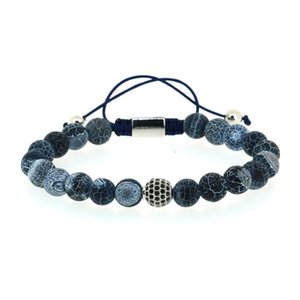 Wholesale 8mm Dark Navy Blue Crackle Pattern Stone Beads With Silver Color Round Black Cz Zircon Charm Adjustable Macrame Bracelet For Man