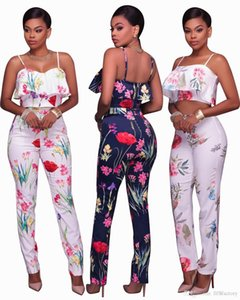 Three-color European and American sexy sling women's fashion ruffled fake two-piece printed trouser suit on Sale