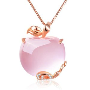 Wholesale Rose Quartz CZ Crystal Pink Opal Apple Shape Pendant Necklace Choker for Women Girls Cute Gift