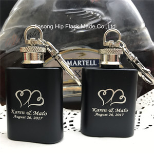 20PCS Customized wedding favor of 1oz stainless steel hip flask with bride and groom name engraved free