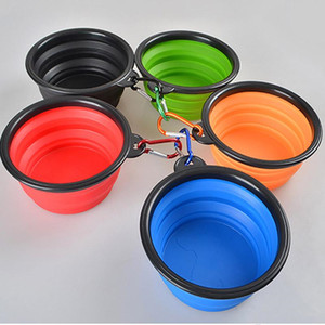 New Silicone Folding dog bowl Expandable Cup Dish for Pet Feeder Food Water Feeding Portable Travel Bowl bowl With Carabiner HH7-1179
