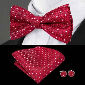 Wholesale Red Bow tie With White Dots Jacquard Woven Silk BowTie Standard Discount Fashion Wedding Dress Business Freeing Shippinghigh Quality LH