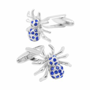 Wholesale SAVOYSHI Novelty Spider Bottons for Mens With Box Shirt Cuff Bottons Blue Crystal Cuff Links Fashion Classic Wedding Gift