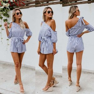 Wholesale Fashion Women s Sexy Playsuits Summer Clothes One Shoulder Striped Short Sleeve Jumpsuit Shorts Playsuit Casual Women Clothes