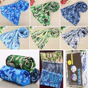 Wholesale 90 cm Camouflage Ice Cold Towel Cooling Summer Sunstroke Sports Exercise Cool Quick Dry Soft Breathable Cooling Towel Opp bag HH7