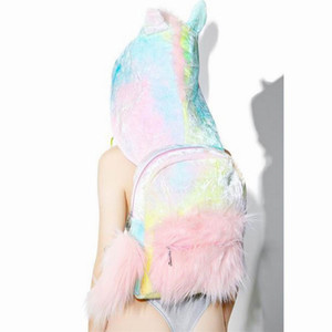 Wholesale Removable hat cool street style Unicorn Backpack Cute Plush Kawaii Unicorn furry hoodie school bag
