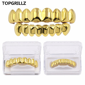 TOPGRILLZ Hip Hop Grills Set Gold Finish Eight 8 Top Teeth & 8 Bottom Tooth Plain Clown Halloween Party Jewelry