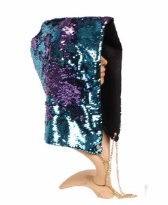 Wholesale Party Hats Mermaid Sequin Hood Hats Magical Reversible Sequins Hat Rave Grand Event Stage performance Bling Cap Cosplay Props