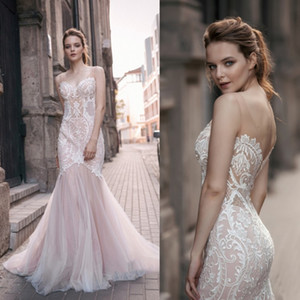 Milva Bridal 2018 Country Backless Wedding Dresses Blush Pink Lace Appliqued Scoop Neck Beach Boho Mermaid Wedding Gowns