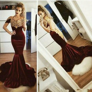 Wholesale Turkey Sexy burgundy Mermaid Velvet Evening Dresses short Sleeve Lace Appliques keyhole Open Back Formal Prom Party Gowns