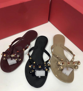 2018 new jelly beach rivet series flip flops top quality best launcher 3 color size 35-41+ box