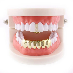 Wholesale hip hop grillz real gold plated dental grills rapper body jewelry Halloween party toy diamond single nupper tooth smooth lower teeth