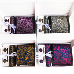 Wholesale Business Inch Cm Wide Ensemble Silver Paisley Wedding Man Tie Handkerchief Pin and Cufflinks Gift Box Packing Many Color