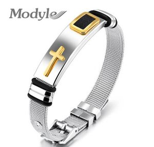 New Gold-Color Cross Bracelet For Men Women Stainless Steel Cool Men Jewelry Gifts