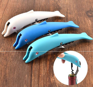 Wholesale High Quality Creative Dolphin Cork Screw Corkscrew MultiFunction Wine Bottle Cap Opener Beer Bottle Opener lin4220