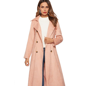 Wholesale 2018 Pink Corduroy Trench Coats Jacket with Lapel Button Long sleeved Women Clothing Ladies Outer Wear