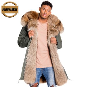 Wholesale Fandy Lokar Real Fur Parka Men Winter Jacket Real Raccoon Fur Hooded Coats Nature Raccoon Dog Lining Jacket Man Real Fur Coat C18111201