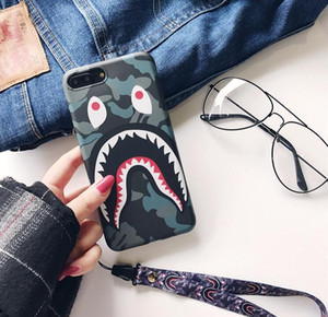 Tide brand camouflage shark mouth for iphone XS MAX mobile phone shell iPhone8 matte couple 6s 7 creative lanyard TPU airpods
