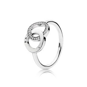 Wholesale Womens Luxury Fashion Double loop CZ diamond circle Rings Original box for Pandora 925 Sterling Silver Wedding Ring
