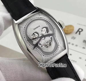 New Croco Collections Skull Skeleton Silver Tattoo Dial Automatic Mens Watch Black Leather Strap Sports Watches Cheap Puretime B118