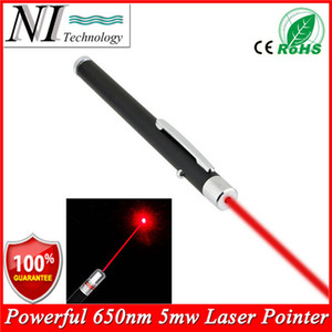 Wholesale 5MW nm Red Laser Pen Black Strong Visible Light Beam Laserpointer Powerful Military Laster Pointer Pen