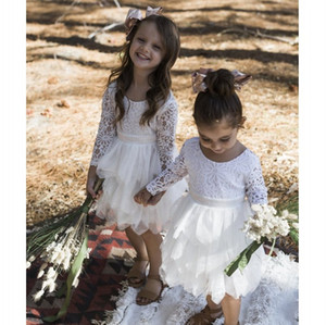 Wholesale 5t dresses sale resale online - Hot Sale Lace Flower Girl Dresses For Wedding With Long Sleeves Tiered Toddler Pageant Gowns Tulle Knee Length Backless Kids Communion Dress