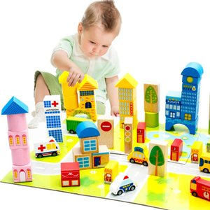 62 Pieces city traffic building blocks child gift baby wood educational toys kids wooden bricks toy Basic stacking toys WJM006 on Sale