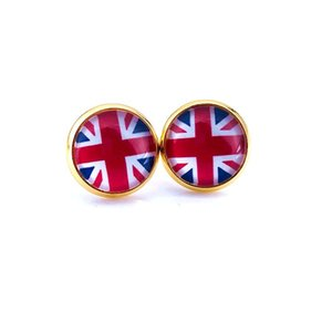 2018 National Flag Stud Earring Russia Spain France Flag Earring 10mm Glass Gem Cabochon silver and gold plated Copper Jewelry B18124