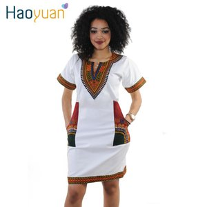 Wholesale HAOYUAN S XL Women Summer Bodycon Dress Robe Sexy Casual Sundress Plus Size Clothing Vintage African Print Dashiki Dresses Y1891306