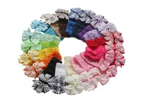 Wholesale 2016 Baby Girl Headband Kids Infants Crochet weave printing hairbow flowers Headbands Children hair Accessories elastic headwear