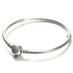 100% 925 Sterling Silver Womens Bracelets White CZ Micro Paved Heart Bracelet with box for Pandora beads European Charms