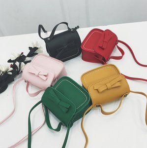 Wholesale candy color children handbags resale online - Bag Handbag Girls Color Bows Princess Fashion F1921 New Single Kids PU Party Candy Chirstmas Crossbody Shoulder Children Whljn