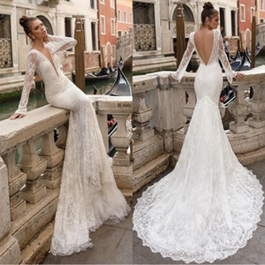 Berta 2018 Designer Full Lace Wedding Dresses Sheer Long Sleeves Plunging V Neck Sexy Backless Mermaid Bridal Gowns Vintage BA8201 on Sale