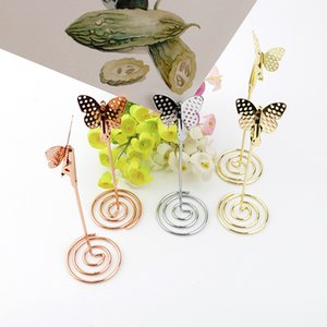 Wholesale 200pcs Butterfly Shaped Note Holder Metal Gold Rose Gold Wedding Seat Table Photo Cards Memo Clip with Base