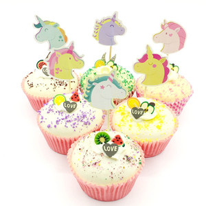 Wholesale 720pcs Cartoon Unicorn Multicolor Pegasus Cupcake Topper Pick Kids Birthday Party Baby Shower Cake Flag Gift Decoration Supplies