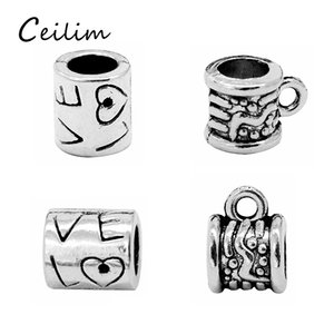 Wholesale Bead Antique Silver Plated Alloy Big Hole Charms Spacer Beads Fit Bracelet DIY Jewelry Necklaces Pendants Charms Beads European Ornaments