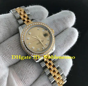 frauen uhren golden großhandel-10 Stil Luxusuhr Dame mm Datejust Zwei Ton Gold Diamond Delic Bezel Präsident Mechanical Asia Automatische Damen Women Watch